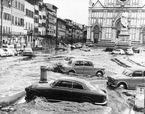 ** FILE ** Image shows the square in front of the Basilica of Santa Croce after the banks of the River Arno overflowed and flooded the city in this Nov. 5, 1966 black and white photo. Saturday Nov. 4, 2006 marks 40 years of the flood. (AP Photo)